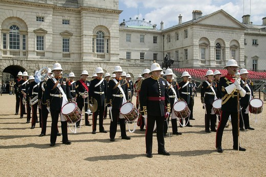 Marching band of the Royal Marines in Horseguards Parade, London, England, United Kingdom, Europe : Stock Photo