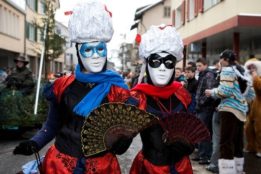 Stock Photo: 1848-405765 A touch of Venice during the carnival procession in Malters, Lucerne, Switzerland, Europe