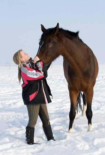 Girl, teenager with brown horse on a snow_covered paddock : Stock Photo