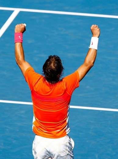 Rafael Nadal, ESP, tennis, Australian Open 2010, Grand Slam Tournament, Melbourne Park, Melbourne, Australia : Stock Photo