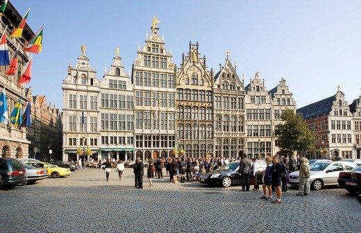 Stock Photo: 1848-406144 Guild houses with the city hall on the Grote Markt square, Antwerp, Flanders, Belgium, Europe