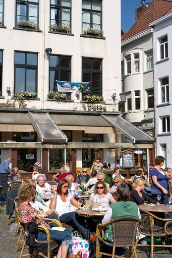 Stock Photo: 1848-406179 Groenplaats square, Antwerp, Flanders, Belgium, Europe
