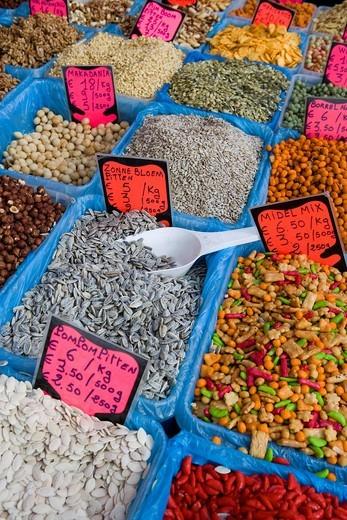 Stock Photo: 1848-406201 Market stall in front of Stadsschouwburg, Antwerp, Flanders, Belgium, Europe