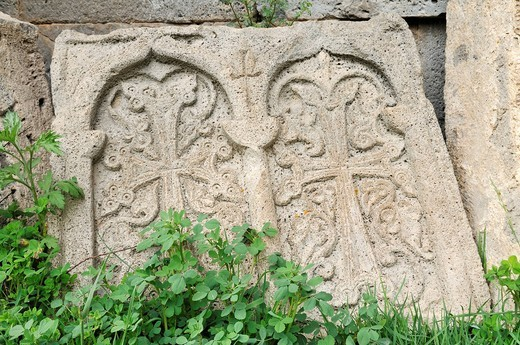 Stock Photo: 1848-406296 Traditional Armenian cross_stone, khachkar, at Tatev Monastery near Goris, Armenia, Asia