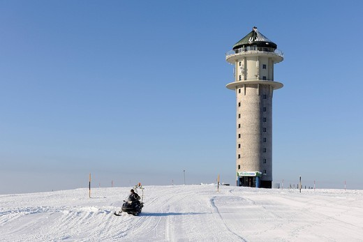 Feldbergturm Tower and snowmobile on Mt Feldberg, southern Black Forest, Baden_Wuerttemberg, Germany, Europe : Stock Photo