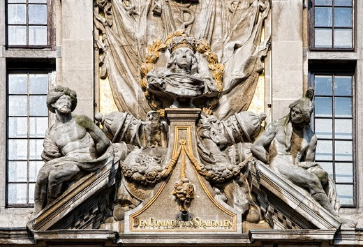Stock Photo: 1848-406634 Detail, Guildhall on the Grote Markt, Grand Place, Brussels, Belgium, Europe