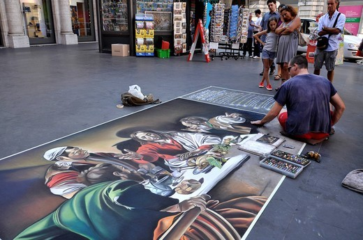 Street painter painting the Supper at Emmaus by Caravaggio, Via del Corso, Rome, Lazio, Italy, Europe : Stock Photo