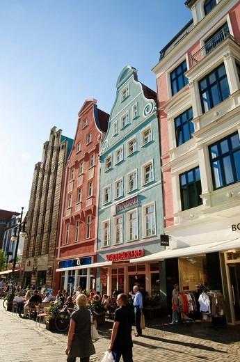 Shopping street Kroepeliner Strasse, pedestrian area, old town, Hanseatic city of Rostock, Mecklenburg_Western Pomerania, Germany, Europe : Stock Photo