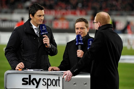 Stock Photo: 1848-407194 Interviews on SKY SPORTS Desk with DFB sports director Matthias Sammer on the right, sports director Horst Heldt VfB Stuttgart in the middle, and SKY chief presentator Sebastian Hellmann on the left, Mercedes_Benz Arena, Stuttgart, Baden_Wuerttemberg, Ger