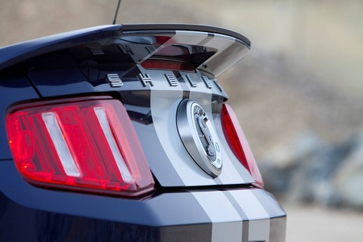Rear of Ford Mustang Shelby GT 500 convertible, 2010 model : Stock Photo