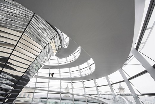 Interior shot of the glass dome on the Reichstag building, Mitte, Berlin, Germany, Europe : Stock Photo