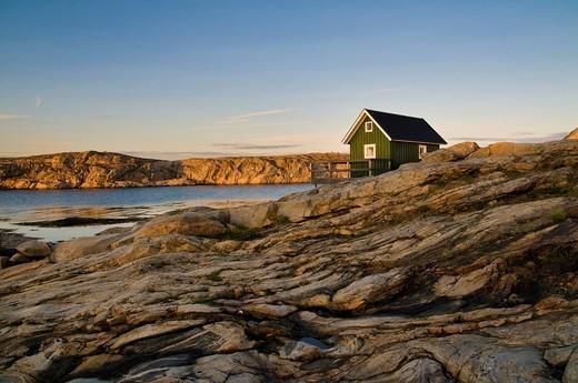 House on the waterfront, Smoegen, Bohuslaen, Sweden, Scandinavia, Europe : Stock Photo