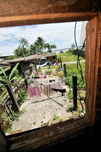 View from a window on clotheslines in the Bajamar slum, Buenaventura, Valle del Cauca, Colombia, South America : Stock Photo