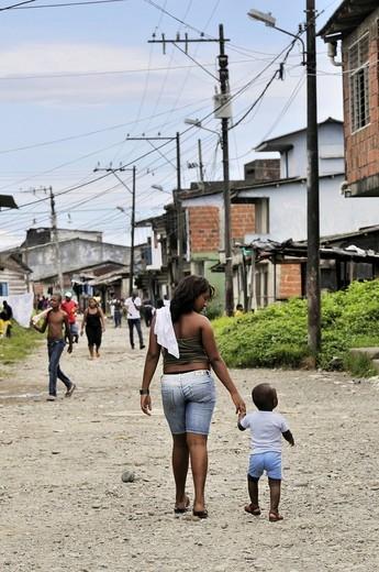 Stock Photo: 1848-407575 Street scene, Afro_Colombian mother and child, Bajamar slum, Buenaventura, Valle del Cauca, Colombia, South America
