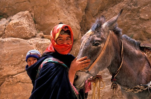 Berber woman with a toddler in a sling and a donkey in the High Atlas, Morocco, Africa : Stock Photo