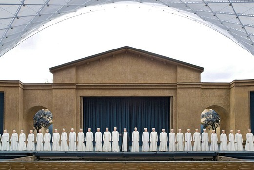 Stock Photo: 1848-407693 Prologue with choir on stage, passion play theatre, Passion Play 2010, Oberammergau, Bavaria, Germany, Europe theatre, Passion Play 2010, Oberammergau, Bavaria, Germany, Europe 2010, Oberammergau, Bavaria, Germany, Europe