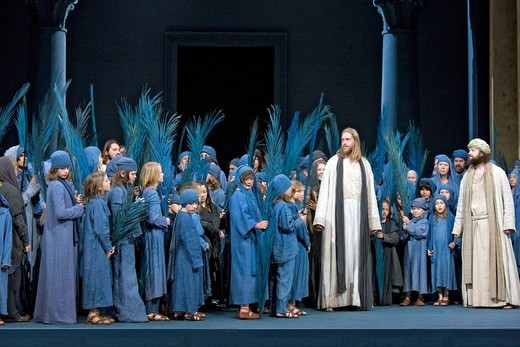Entry into Jerusalem, Jesus with children, palm leaves, pilgrims from Israel, Passion Play 2010, Oberammergau, Bavaria, Germany, Europe : Stock Photo