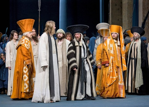 Jesus admonishing the high priest and the scribes, Passion Play 2010, Oberammergau, Bavaria, Germany, Europe : Stock Photo