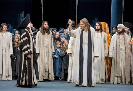 Stock Photo: 1848-407702 Jesus raising the tax coin and throws it on the floor, Passion Play 2010, Oberammergau, Bavaria, Germany, Europe