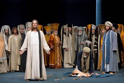 Expulsion of the temple merchants from the temple, Passion Play 2010, Oberammergau, Bavaria, Germany, Europe : Stock Photo