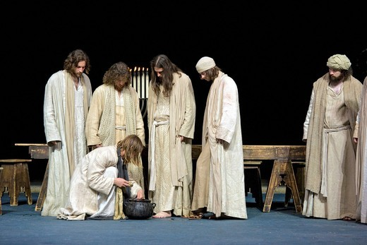 The foot washing, Jesus washing his disciples´ feet, Passion Play 2010, Oberammergau, Bavaria, Germany, Europe : Stock Photo