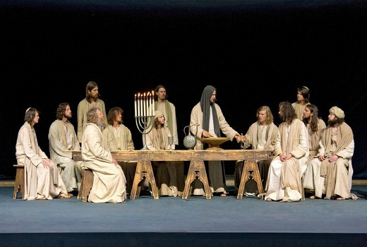The Passover meal, the Last Supper, menorah, Jewish candelabra, Jesus breaking bread and sharing it with his disciples, Passion Play 2010, Oberammergau, Bavaria, Germany, Europe : Stock Photo