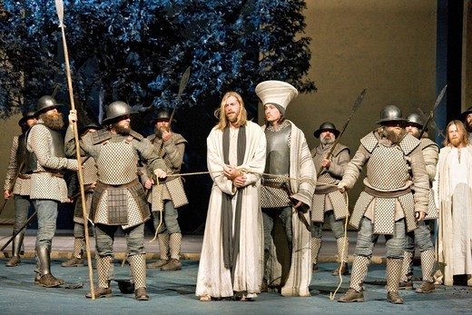 Jesus is taken prisoner by soldiers, Passion Play 2010, Oberammergau, Bavaria, Germany, Europe : Stock Photo