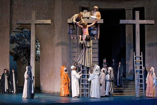 Stock Photo: 1848-407715 The crucifixion of Jesus Christ, Jesus is taken from the Cross, Passion Play 2010, Oberammergau, Bavaria, Germany, Europe