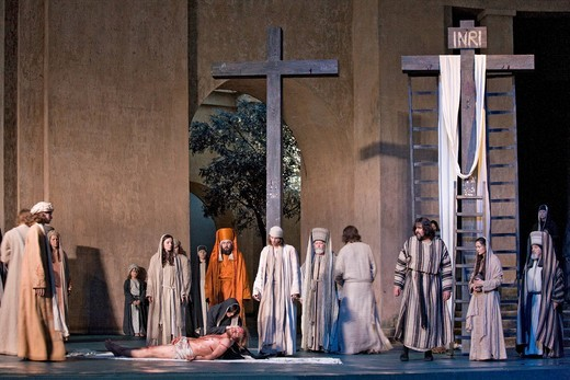 The crucifixion of Jesus Christ, Jesus is taken from the cross, Mary weeping for her son, Passion Play 2010, Oberammergau, Bavaria, Germany, Europe : Stock Photo