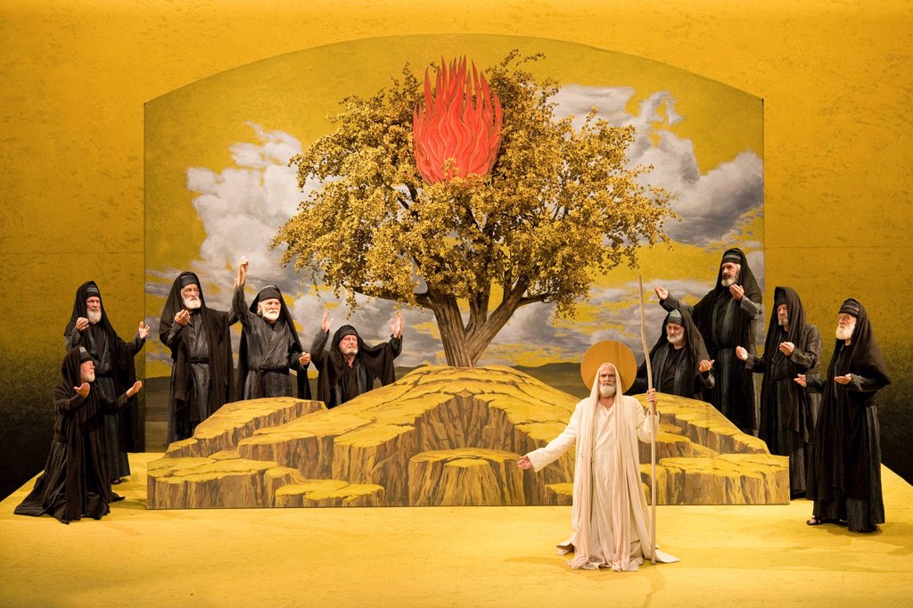 Living image, the call of Moses at the burning bush, Passion Play 2010, Oberammergau, Bavaria, Germany, Europe : Stock Photo