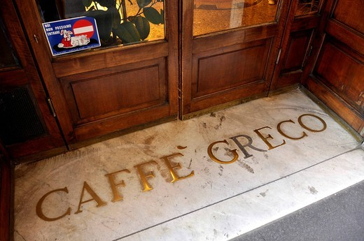 Front door of the Antico Caffe Greco, Via dei Condotti, Rome, Lazio, Italy, Europe : Stock Photo