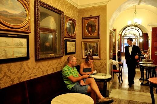 Interior of the Antico Caffe Greco, Via dei Condotti, Rome, Lazio, Italy, Europe : Stock Photo