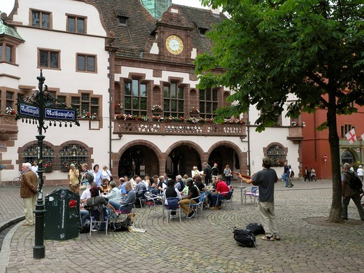 Town Hall, Town Hall Square, Freiburg im Breisgau, Baden_Wuerttemberg, Germany, Europe : Stock Photo