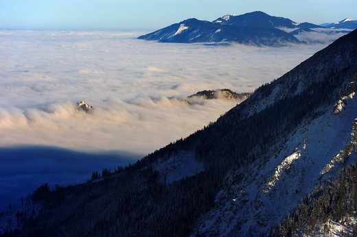 Stock Photo: 1848-408120 Sea of fog with a castle and alpine peaks, Tannheim Valley, Tyrol, Austria, Europe