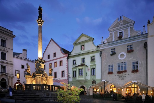 Namesti Svornosti square, historic old town in the evening, UNESCO World Heritage Site, Cesky Krumlov, Czech Republic, Europe : Stock Photo