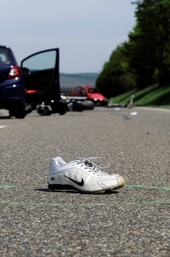 Serious traffic accident that caused life_threatening injuries, B14 highway to Waiblingen, Baden_Wuerttemberg, Germany, Europe : Stock Photo