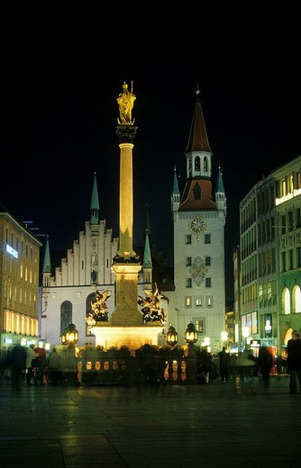 Marienplatz Square with the Marensaeule column and the old town hall, Munich, Bavaria, Germany, Europe : Stock Photo