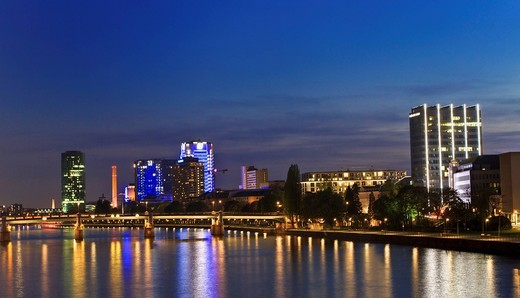 Skyline of Frankfurt am Main at night, Frankfurt am Main, Hesse, Germany, Europe : Stock Photo