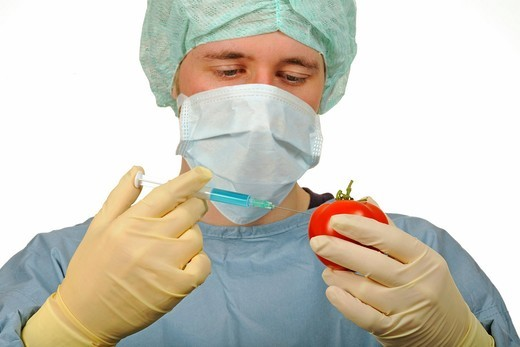 Chemist in aseptic scrubs holding a syringe and a tomato, picture symbolising genetically modified food, treated food : Stock Photo