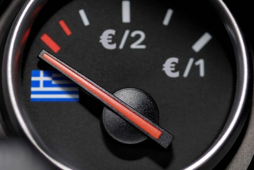 Stock Photo: 1848-408520 Euro value indicator with the Greek flag on zero, symbolic image for the national debt of Greece