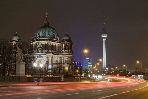 Berlin Cathedral and Fernsehturm TV Tower at night, Mitte, Berlin, Germany, Europe : Stock Photo