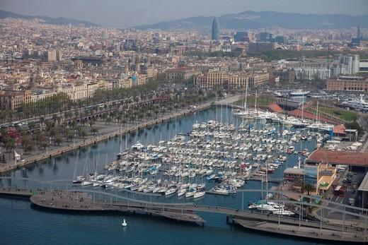 Aerial view, marina, Real Club Maritim, Club Nautic and Moll de la Fusta, Port Vell, Barcelona, Catalonia, Spain, Europe : Stock Photo