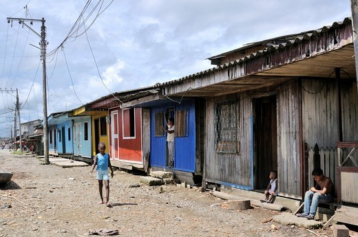 Street in the Bajamar slum, Buenaventura, Valle del Cauca, Colombia, South America : Stock Photo