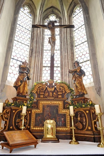 Altar and choir of the castle chapel, Burg Clam Castle, Muehlviertel region, Upper Austria, Austria, Europe : Stock Photo