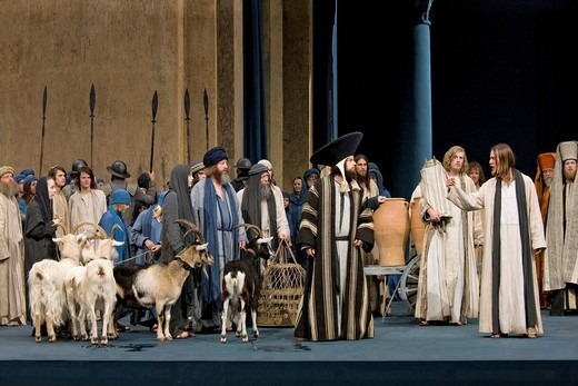 Stock Photo: 1848-408752 Expulsion of the temple merchants from the temple, Passion Play 2010, Oberammergau, Bavaria, Germany, Europe