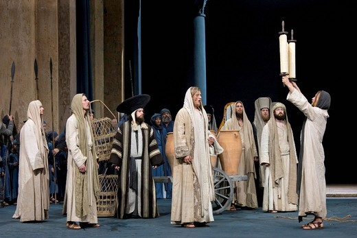 Stock Photo: 1848-408754 Jesus holding up the Torah in the temple, Jewish Hebrew scroll, Passion Play 2010, Oberammergau, Bavaria, Germany, Europe
