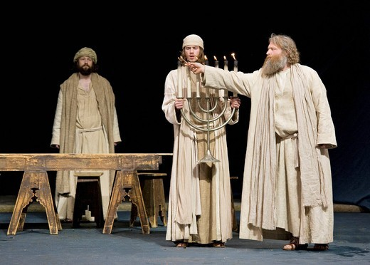 Stock Photo: 1848-408758 The Passover meal, the Last Supper, menorah, Jewish candelabra, Passion Play 2010, Oberammergau, Bavaria, Germany, Europe