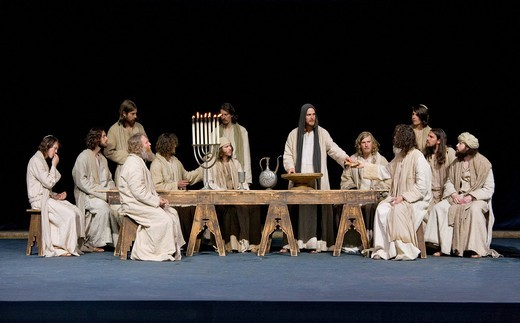 Stock Photo: 1848-408759 The Passover meal, the Last Supper, menorah, Jewish candelabra, Jesus breaking bread and sharing it with his disciples, Passion Play 2010, Oberammergau, Bavaria, Germany, Europe