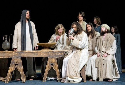 Stock Photo: 1848-408760 The Passover meal, the Last Supper, menorah, Jewish candelabra, Jesus sharing wine with his disciples, Passion Play 2010, Oberammergau, Bavaria, Germany, Europe