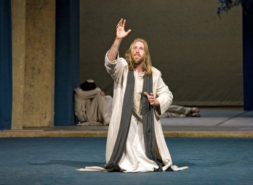 After the Passover meal Jesus is praying in fear of death, Passion Play 2010, Oberammergau, Bavaria, Germany, Europe : Stock Photo